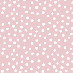 Modern Polka Dot in White on Powder Pink