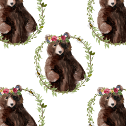 Floral Honey Bear Wreath in Autumn Bouquet