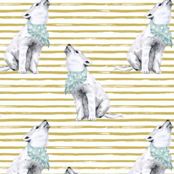 Arctic Wolf on Watercolor Stripes in Antique Brass