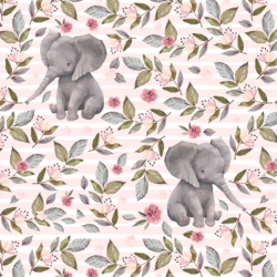 Floral Baby Elephant on Stripes in Soft Blush
