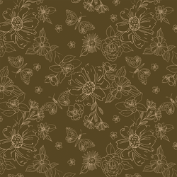 Sketched Florals in Chocolate