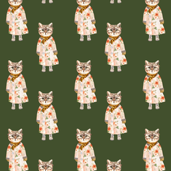 Little Miss Kitty in Olive Green