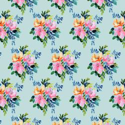 Tropical Bouquet in Glacier Blue