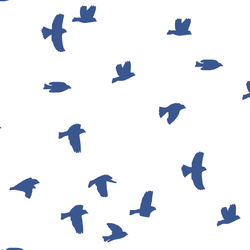 Flock Silhouette in Blue Jay on White