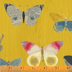 Newspaper Butterfly in Mustard