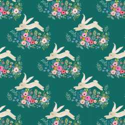 Little Bunny and Blooms in Emerald
