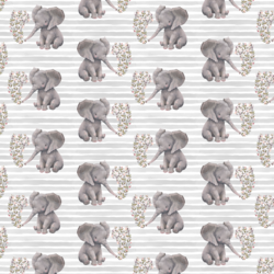 Little Baby Elephant on Stripes in Grey