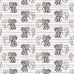 Little Baby Elephant on Stripes in Grey