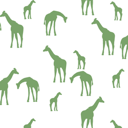 Giraffe Silhouette in Pistachio on White