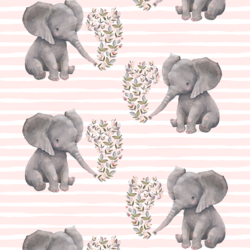 Baby Elephant on Stripes in Soft Blush