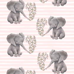 Baby Elephant on Stripes in Soft Blush