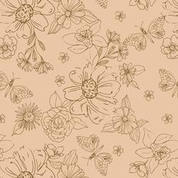 Big Sketched Florals in Peach