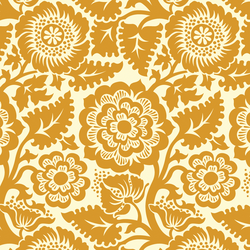 Blockprint Blossom in Warm Gold on Ivory