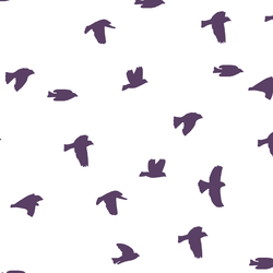 Flock Silhouette in Aubergine on White