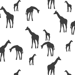 Giraffe Silhouette in Onyx on White