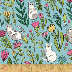 Flower Cats in Aqua