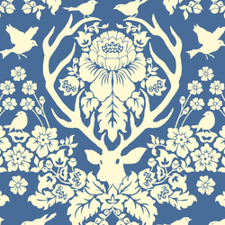 Antler Damask in Ivory on Hyacinth Blue