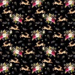 Small Autumn Bunnies in Black