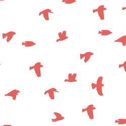 Flock Silhouette in Salmon on White