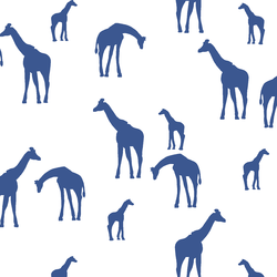 Giraffe Silhouette in Blue Jay on White