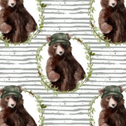 Honey Bear Wreath in Sage Stripes