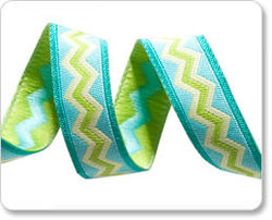 Meander Ribbon in Lime and Aqua