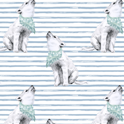 Arctic Wolf on Watercolor Stripes in Winter Blue