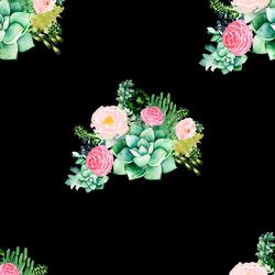 Floral Succulents in Black