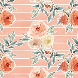 Ardent Floral Stripe in Vintage Rose Wash