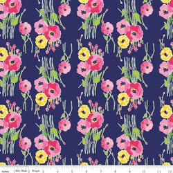 Fruitful Pleasures Floral in Navy