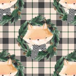Fox on Tartan Plaid in Sweet