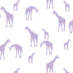 Giraffe Silhouette in Lilac on White