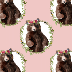 Floral Honey Bear Wreath in Pink Rose