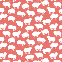 Sheep Silhouette in Living Coral