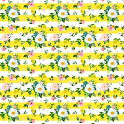 Small Lemon Blossoms in Lemon Stripes