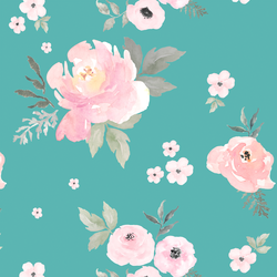 Sweet Blush Roses in Seafoam