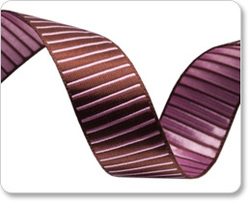 Reversible Striped Satin Ribbon in Brown and Pink