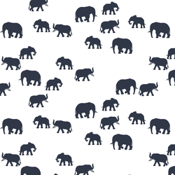 Elephant Silhouette in Eclipse in White