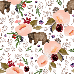 Floral Bear in White