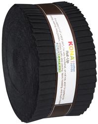 """Kona Solid 2.5"""" Strip Roll in Black"""