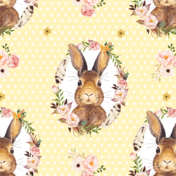 Bunny Love on Polka Dots in Lemon Chiffon