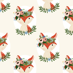 Large Fox Floral in Ivory