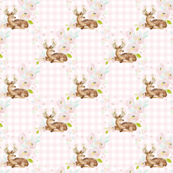 Little Blush Floral Deer in Soft Pink Gingham