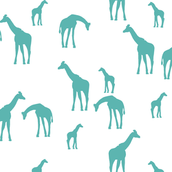 Giraffe Silhouette in Seafoam on White