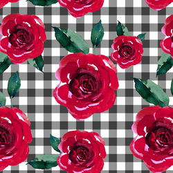 Blooming Roses on Gingham in Onyx