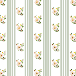 Little Floral Stripes in Succulent Green