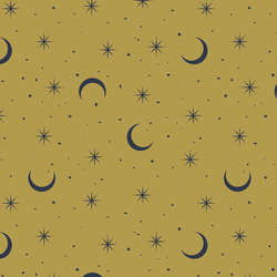 Small Moon and Stars in Gold