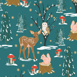 A Winter Woodland in Forest Glade