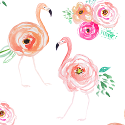 Floral Flock in Flamingo