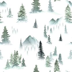 Mountain Pines in Winter Mist